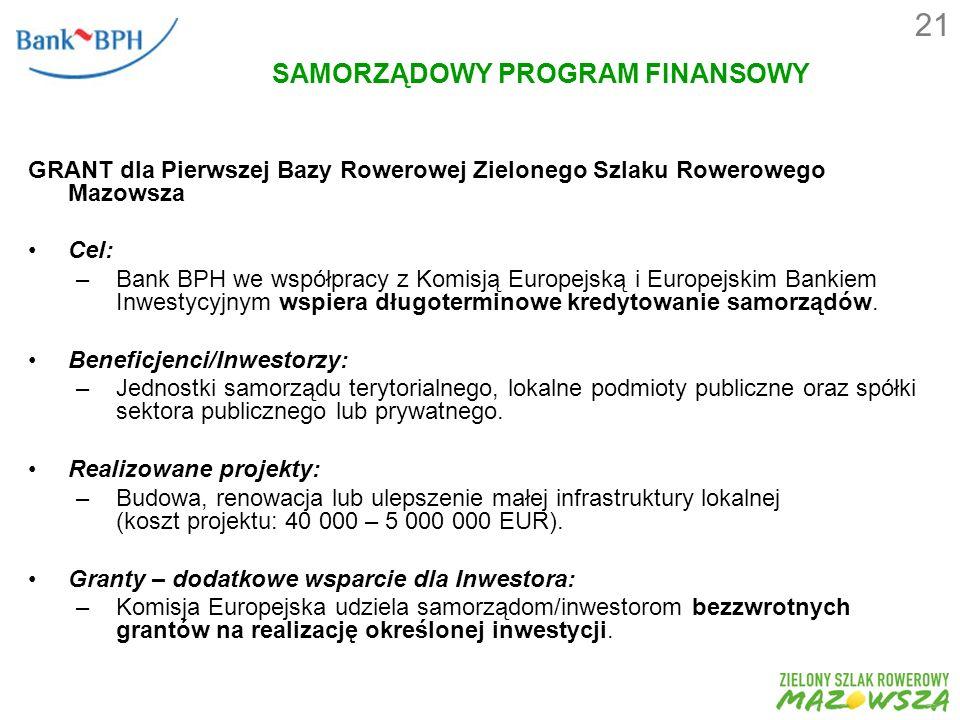 SAMORZĄDOWY PROGRAM FINANSOWY GRANT dla Pierwszej Bazy Rowerowej Zielonego Szlaku Rowerowego Mazowsza Cel: –Bank BPH we współpracy z Komisją Europejską i Europejskim Bankiem Inwestycyjnym wspiera długoterminowe kredytowanie samorządów.