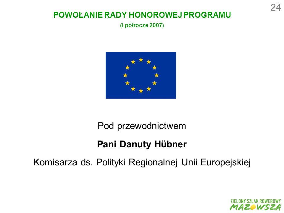 24 POWOŁANIE RADY HONOROWEJ PROGRAMU (I półrocze 2007) Pod przewodnictwem Pani Danuty Hübner Komisarza ds.