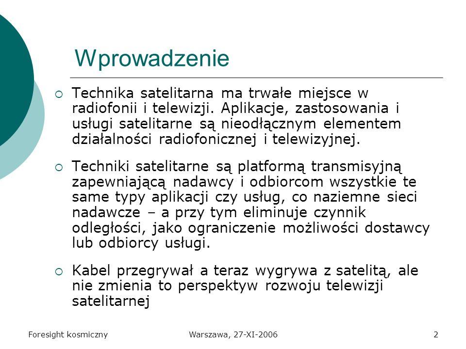 Foresight kosmicznyWarszawa, 27-XI-20062 Wprowadzenie Technika satelitarna ma trwałe miejsce w radiofonii i telewizji.