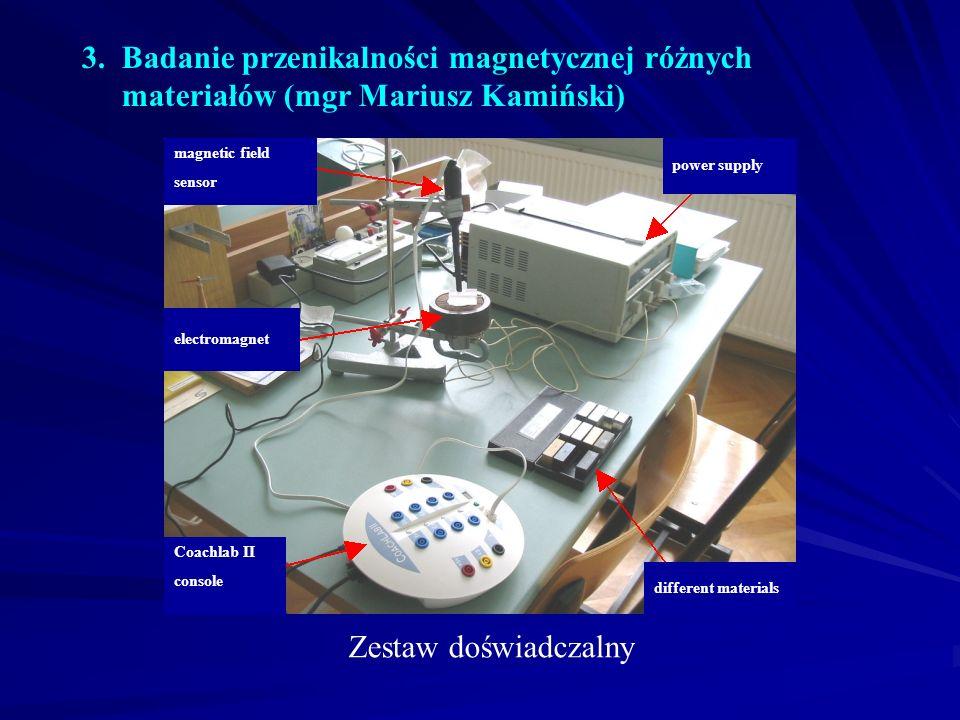 3. Badanie przenikalności magnetycznej różnych materiałów (mgr Mariusz Kamiński) Zestaw doświadczalny different materials Coachlab II console power su