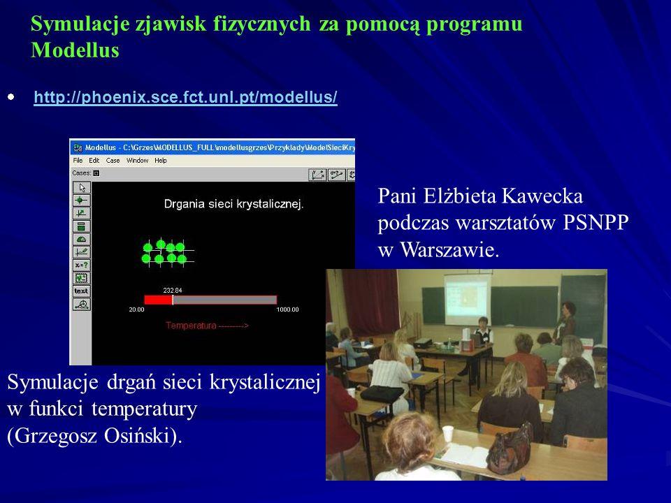 Symulacje zjawisk fizycznych za pomocą programu Modellus http://phoenix.sce.fct.unl.pt/modellus/ Symulacje drgań sieci krystalicznej w funkci temperatury (Grzegosz Osiński).
