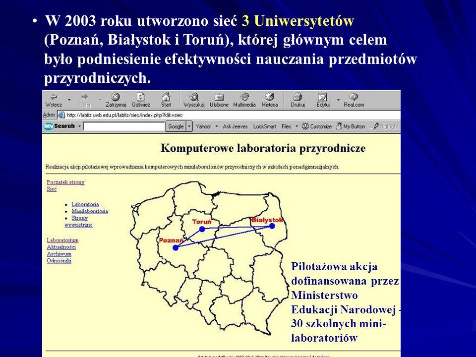 W 2003 roku utworzono sieć 3 Uniwersytetów (Poznań, Białystok i Toruń), której głównym celem było podniesienie efektywności nauczania przedmiotów przy