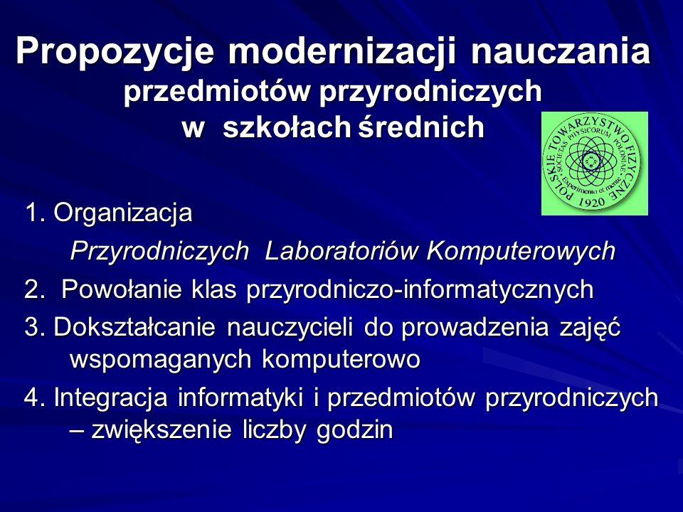Propozycje modernizacji nauczania przedmiotów przyrodniczych w szkołach średnich 1. Organizacja Przyrodniczych Laboratoriów Komputerowych 2. Powołanie