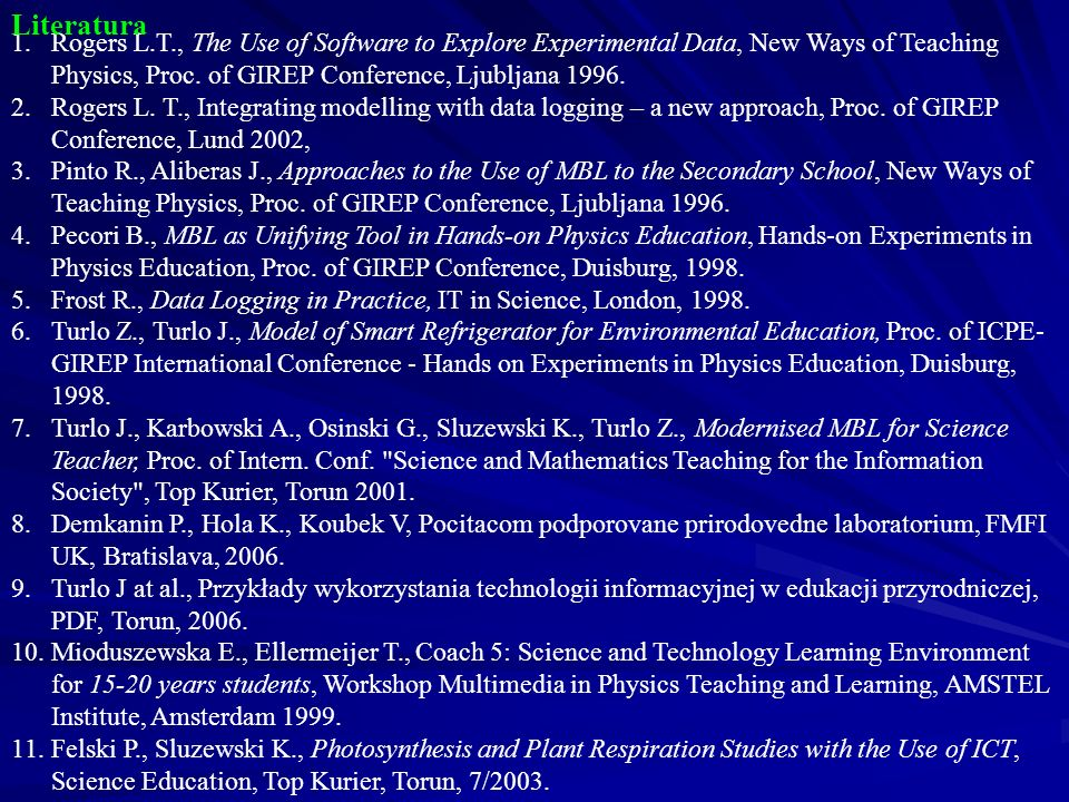 1.Rogers L.T., The Use of Software to Explore Experimental Data, New Ways of Teaching Physics, Proc.