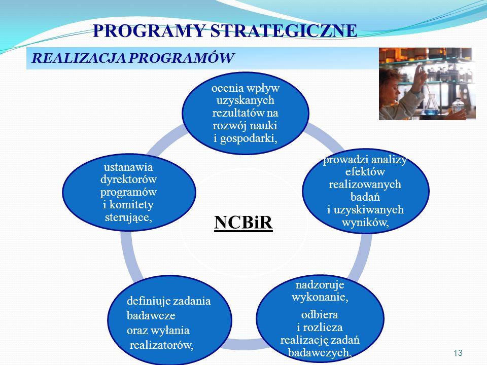 13 NCBiR ocenia wpływ uzyskanych rezultatów na rozwój nauki i gospodarki, prowadzi analizy efektów realizowanych badań i uzyskiwanych wyników, nadzoru