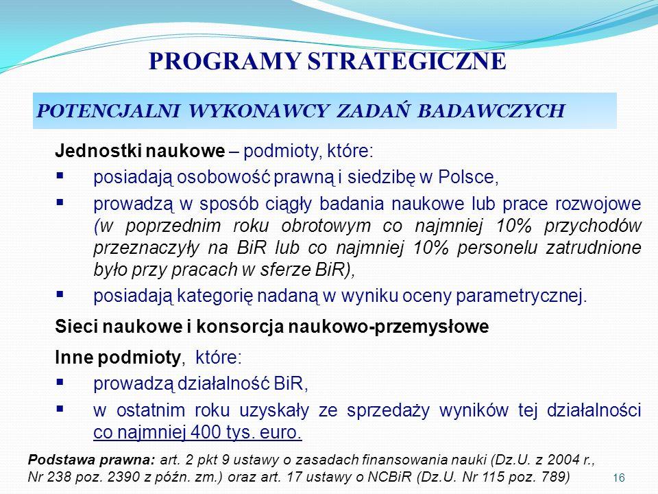 PROGRAMY STRATEGICZNE POTENCJALNI WYKONAWCY ZADAŃ BADAWCZYCH Jednostki naukowe – podmioty, które: posiadają osobowość prawną i siedzibę w Polsce, prow
