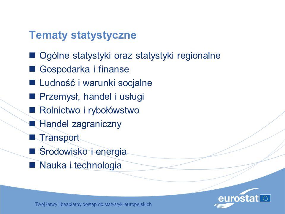 Twój łatwy i bezpłatny dostęp do statystyk europejskich Tematy statystyczne Ogólne statystyki oraz statystyki regionalne Gospodarka i finanse Ludność