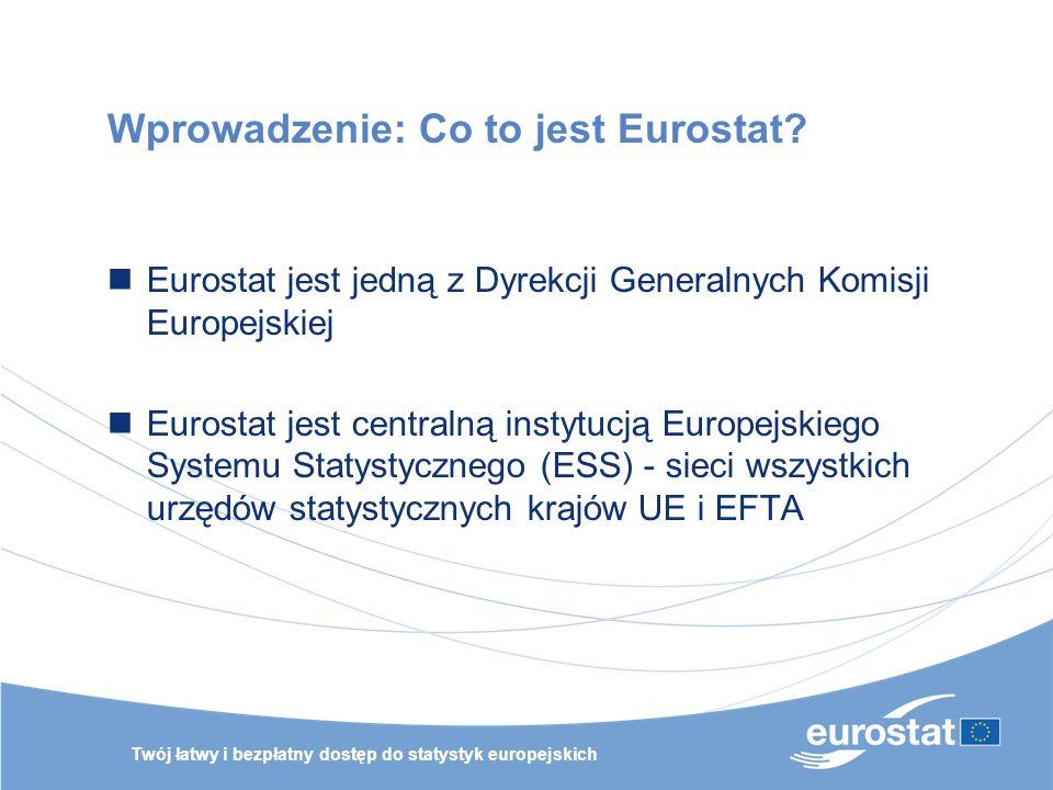 Twój łatwy i bezpłatny dostęp do statystyk europejskich Wprowadzenie: Co to jest Eurostat? Eurostat jest jedną z Dyrekcji Generalnych Komisji Europejs
