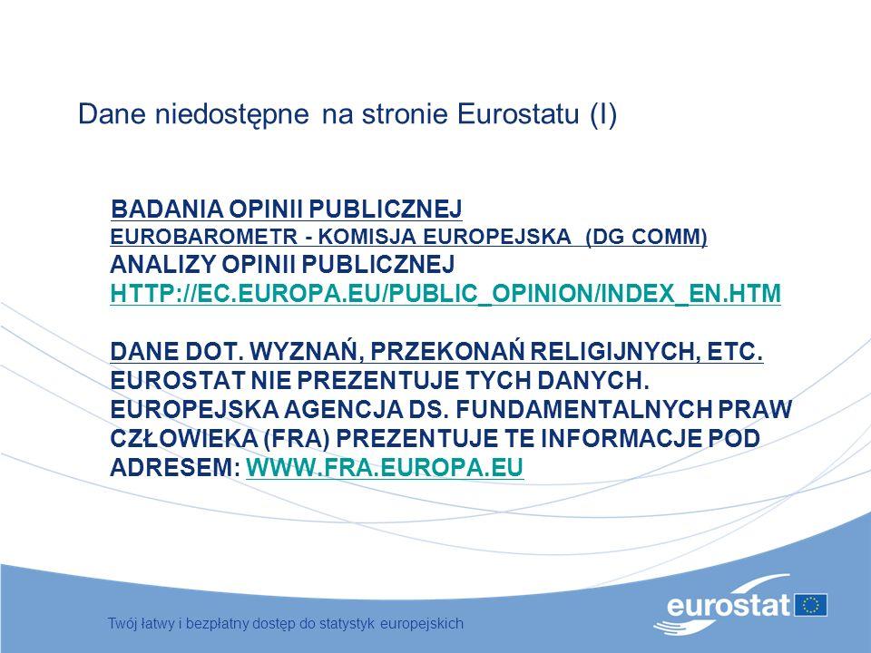 BADANIA OPINII PUBLICZNEJ EUROBAROMETR - KOMISJA EUROPEJSKA (DG COMM) ANALIZY OPINII PUBLICZNEJ HTTP://EC.EUROPA.EU/PUBLIC_OPINION/INDEX_EN.HTM DANE D