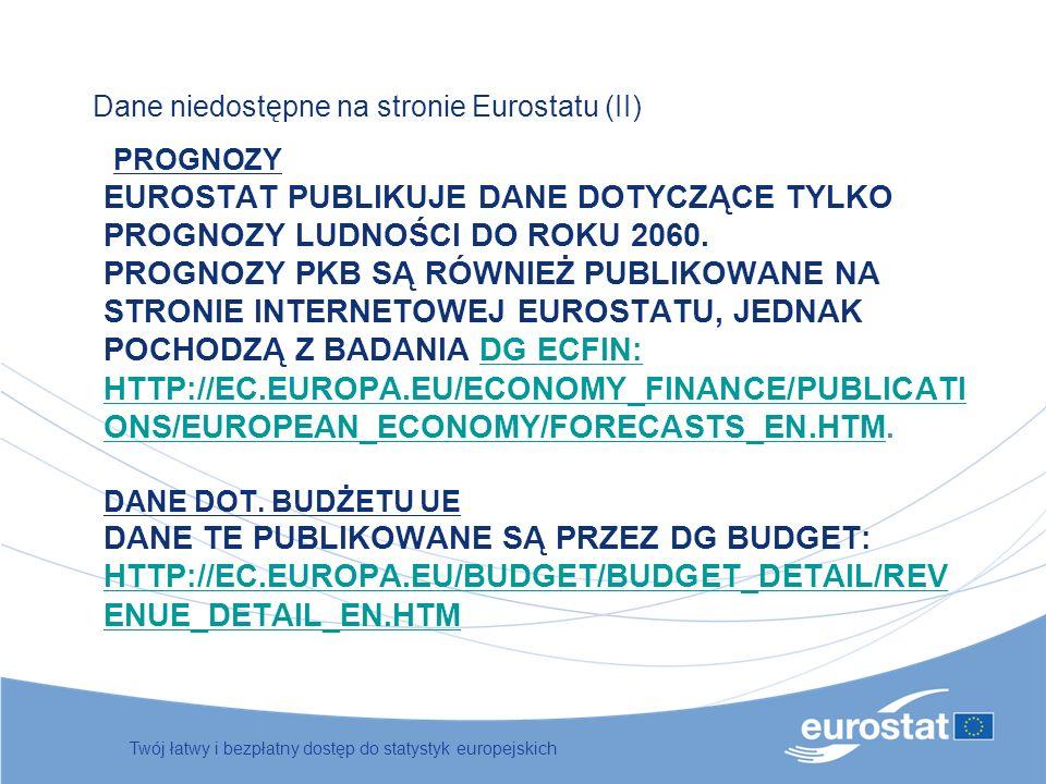 PROGNOZY EUROSTAT PUBLIKUJE DANE DOTYCZĄCE TYLKO PROGNOZY LUDNOŚCI DO ROKU 2060. PROGNOZY PKB SĄ RÓWNIEŻ PUBLIKOWANE NA STRONIE INTERNETOWEJ EUROSTATU