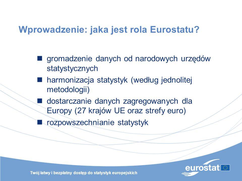 Twój łatwy i bezpłatny dostęp do statystyk europejskich Wprowadzenie: jaka jest rola Eurostatu? gromadzenie danych od narodowych urzędów statystycznyc