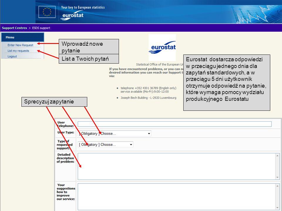 Twój łatwy i bezpłatny dostęp do statystyk europejskich Wprowadź nowe pytanie List a Twoich pytań Eurostat dostarcza odpowiedzi w przeciągu jednego dn