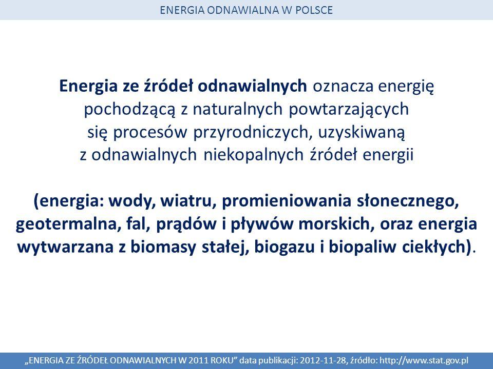 Energia ze źródeł odnawialnych oznacza energię pochodzącą z naturalnych powtarzających się procesów przyrodniczych, uzyskiwaną z odnawialnych niekopal