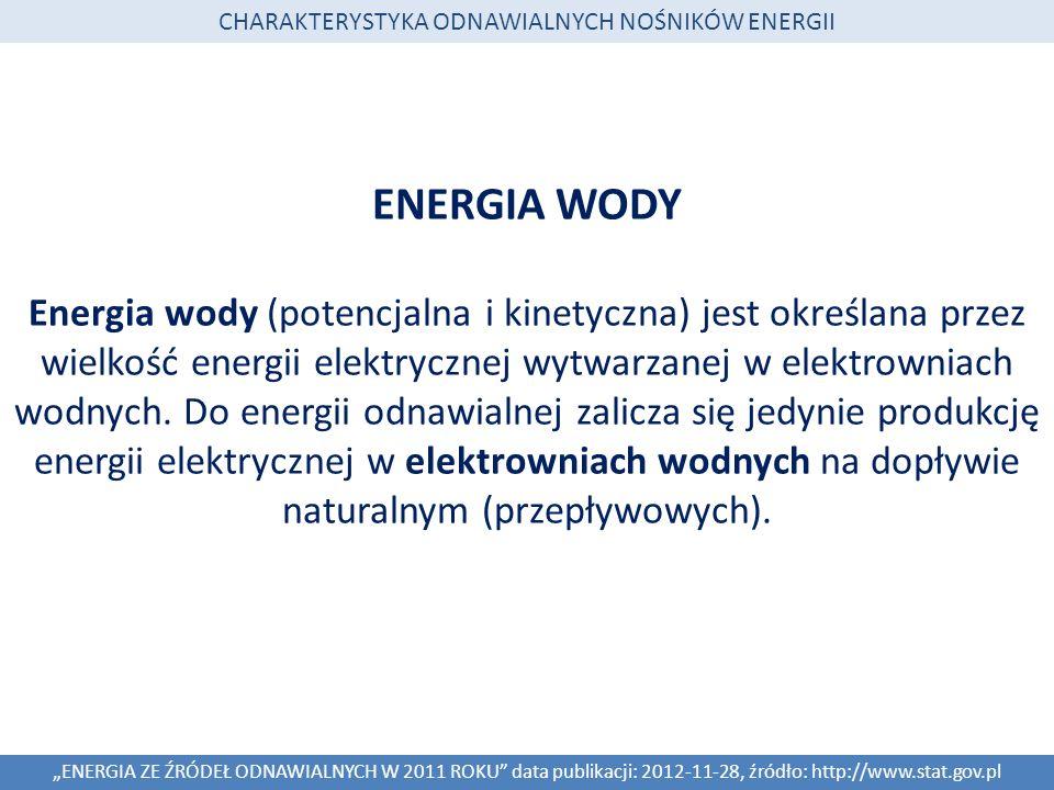 ENERGIA WODY Energia wody (potencjalna i kinetyczna) jest określana przez wielkość energii elektrycznej wytwarzanej w elektrowniach wodnych. Do energi