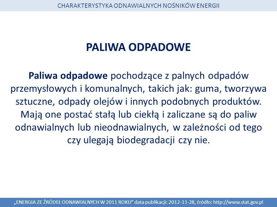 PALIWA ODPADOWE Paliwa odpadowe pochodzące z palnych odpadów przemysłowych i komunalnych, takich jak: guma, tworzywa sztuczne, odpady olejów i innych podobnych produktów.