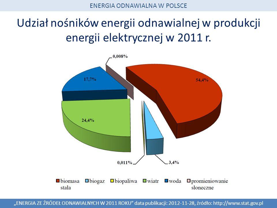 Udział nośników energii odnawialnej w produkcji energii elektrycznej w 2011 r. ENERGIA ZE ŹRÓDEŁ ODNAWIALNYCH W 2011 ROKU data publikacji: 2012-11-28,