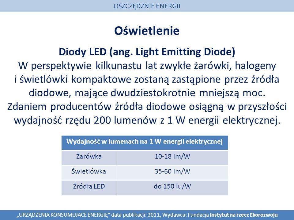 Oświetlenie OSZCZĘDZNIE ENERGII URZĄDZENIA KONSUMUJACE ENERGIĘ data publikacji: 2011, Wydawca: Fundacja Instytut na rzecz Ekorozwoju Diody LED (ang. L