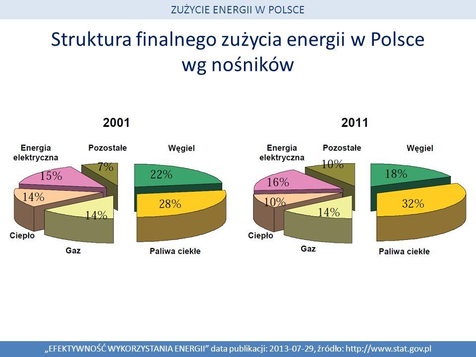 Struktura finalnego zużycia energii w Polsce wg nośników EFEKTYWNOŚĆ WYKORZYSTANIA ENERGII data publikacji: 2013-07-29, źródło: http://www.stat.gov.pl