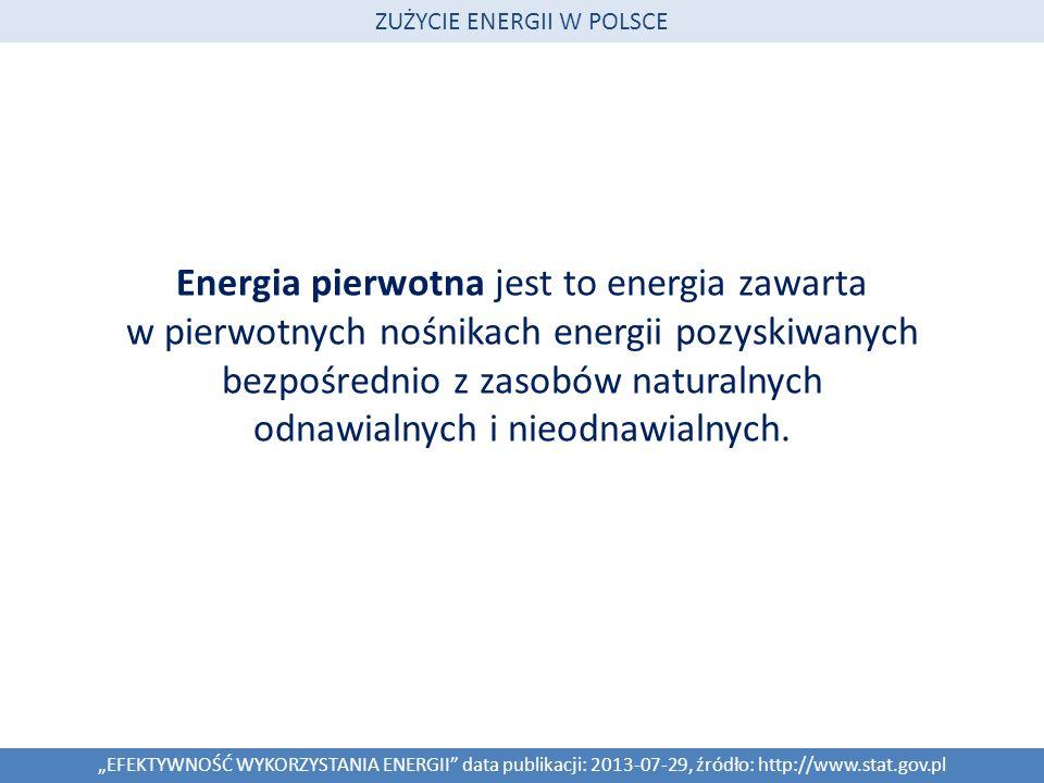 Całkowite zużycie energii pierwotnej i finalne zużycie energii EFEKTYWNOŚĆ WYKORZYSTANIA ENERGII data publikacji: 2013-07-29, źródło: http://www.stat.gov.pl ZUŻYCIE ENERGII W POLSCE