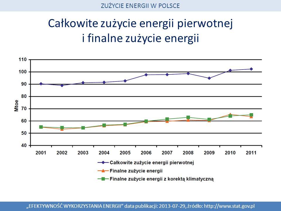 Całkowite zużycie energii pierwotnej i finalne zużycie energii EFEKTYWNOŚĆ WYKORZYSTANIA ENERGII data publikacji: 2013-07-29, źródło: http://www.stat.
