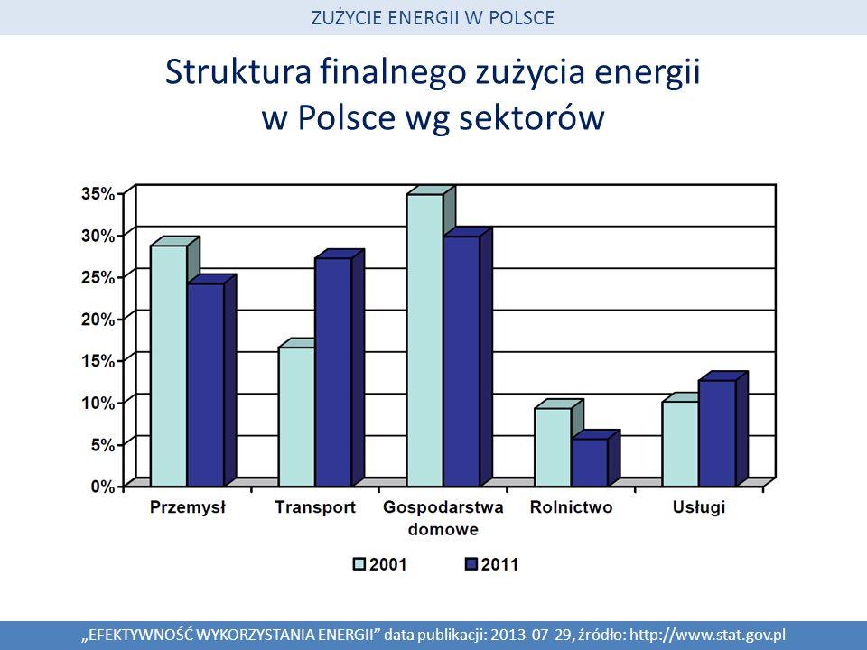 Struktura finalnego zużycia energii w Polsce wg sektorów EFEKTYWNOŚĆ WYKORZYSTANIA ENERGII data publikacji: 2013-07-29, źródło: http://www.stat.gov.pl ZUŻYCIE ENERGII W POLSCE