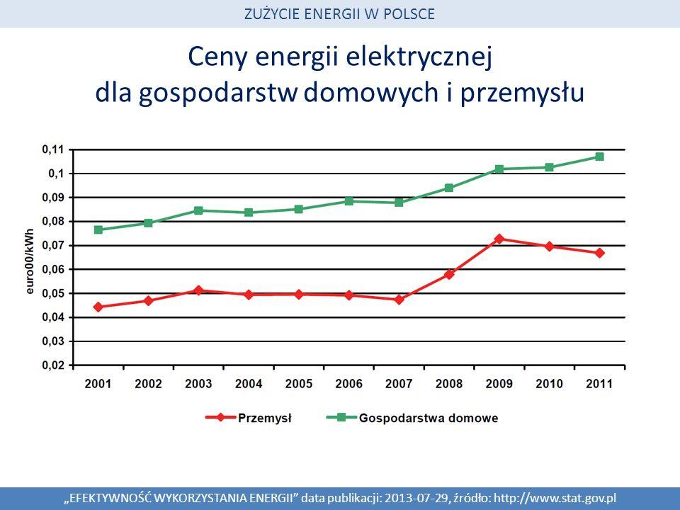 Ceny energii elektrycznej dla gospodarstw domowych i przemysłu EFEKTYWNOŚĆ WYKORZYSTANIA ENERGII data publikacji: 2013-07-29, źródło: http://www.stat.