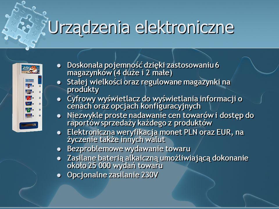 Urządzenia elektroniczne Doskonała pojemność dzięki zastosowaniu 6 magazynków (4 duże i 2 małe) Stałej wielkości oraz regulowane magazynki na produkty Cyfrowy wyświetlacz do wyświetlania informacji o cenach oraz opcjach konfiguracyjnych Niezwykle proste nadawanie cen towarów i dostęp do raportów sprzedaży każdego z produktów Elektroniczna weryfikacja monet PLN oraz EUR, na życzenie także innych walut Bezproblemowe wydawanie towaru Zasilane baterią alkaiczną umożliwiającą dokonanie około 25 000 wydań towaru Opcjonalne zasilanie 230V Doskonała pojemność dzięki zastosowaniu 6 magazynków (4 duże i 2 małe) Stałej wielkości oraz regulowane magazynki na produkty Cyfrowy wyświetlacz do wyświetlania informacji o cenach oraz opcjach konfiguracyjnych Niezwykle proste nadawanie cen towarów i dostęp do raportów sprzedaży każdego z produktów Elektroniczna weryfikacja monet PLN oraz EUR, na życzenie także innych walut Bezproblemowe wydawanie towaru Zasilane baterią alkaiczną umożliwiającą dokonanie około 25 000 wydań towaru Opcjonalne zasilanie 230V