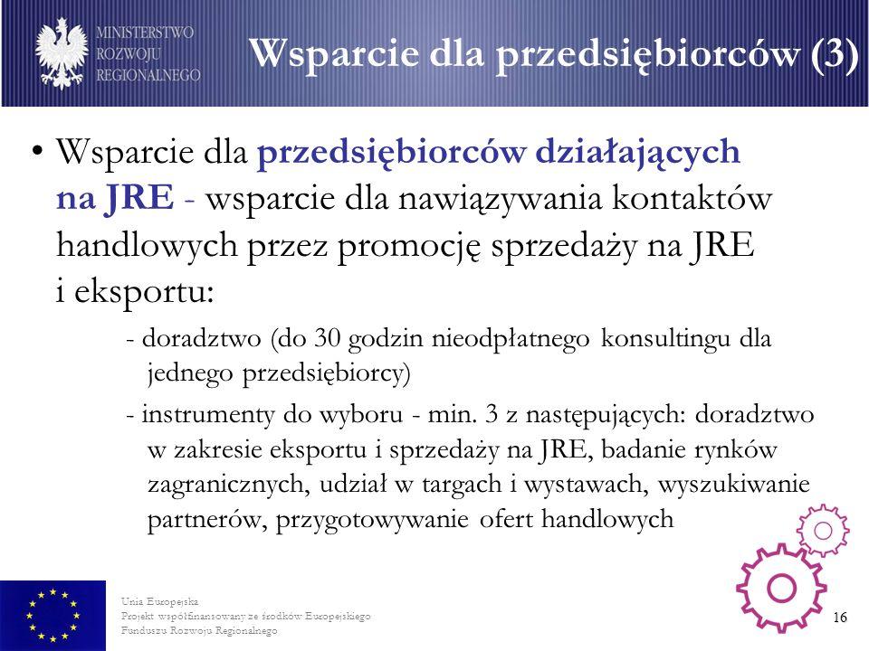 Unia Europejska Projekt współfinansowany ze środków Europejskiego Funduszu Rozwoju Regionalnego 16 Wsparcie dla przedsiębiorców działających na JRE - wsparcie dla nawiązywania kontaktów handlowych przez promocję sprzedaży na JRE i eksportu: - doradztwo (do 30 godzin nieodpłatnego konsultingu dla jednego przedsiębiorcy) - instrumenty do wyboru - min.
