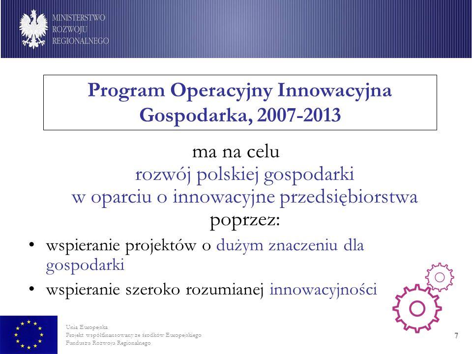 Unia Europejska Projekt współfinansowany ze środków Europejskiego Funduszu Rozwoju Regionalnego 8 Cele szczegółowe PO IG: 1.