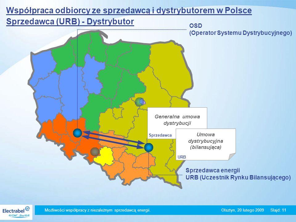 Możliwości współpracy z niezależnym sprzedawcą energii. Olsztyn, 20 lutego 2009Slajd: 11 Współpraca odbiorcy ze sprzedawcą i dystrybutorem w Polsce Sp