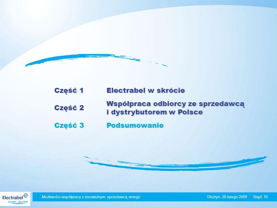 Możliwości współpracy z niezależnym sprzedawcą energii. Olsztyn, 20 lutego 2009Slajd: 15 Część 1 Electrabel w skrócie Część 2 Współpraca odbiorcy ze s