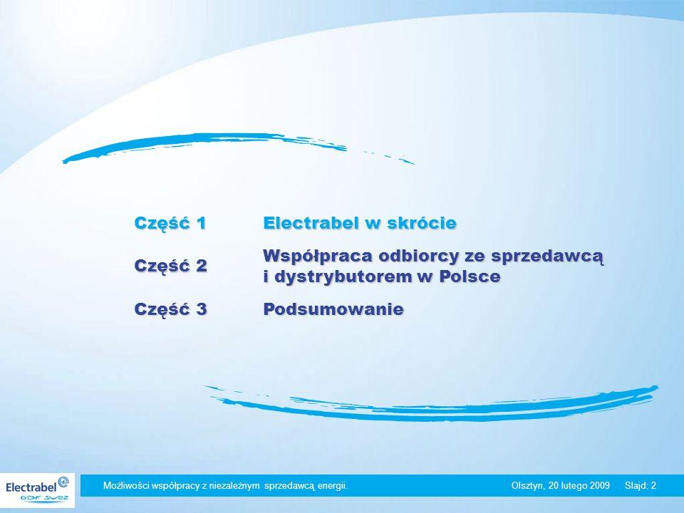 Olsztyn, 20 lutego 2009Slajd: 2 Część 1 Electrabel w skrócie Część 2 Współpraca odbiorcy ze sprzedawcą i dystrybutorem w Polsce Część 3 Podsumowanie