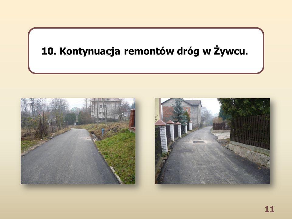 11 10. Kontynuacja remontów dróg w Żywcu.