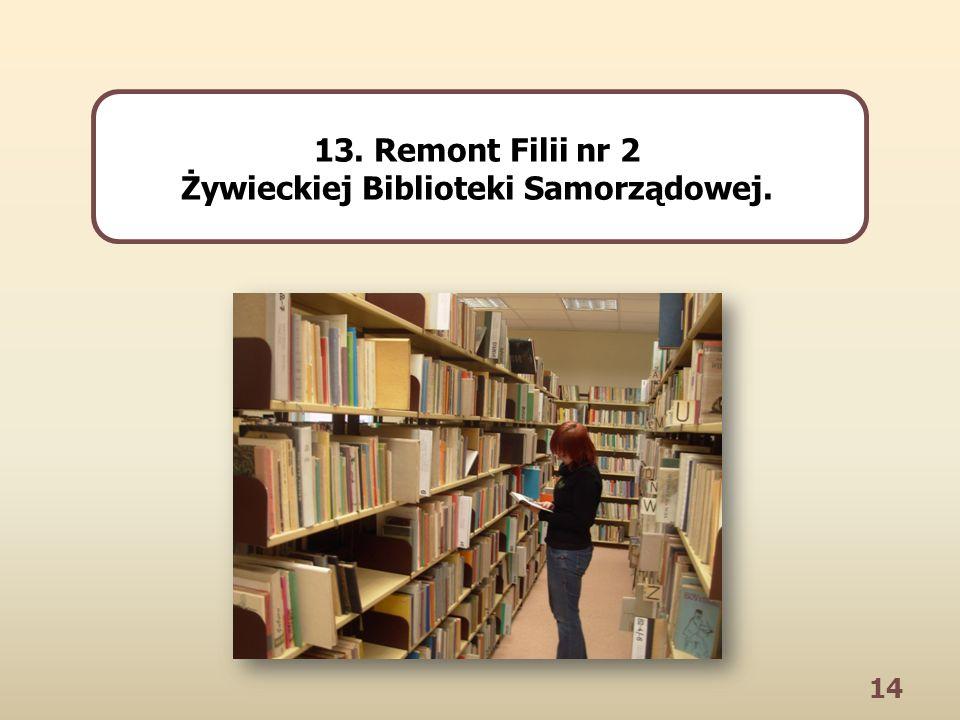 14 13. Remont Filii nr 2 Żywieckiej Biblioteki Samorządowej.