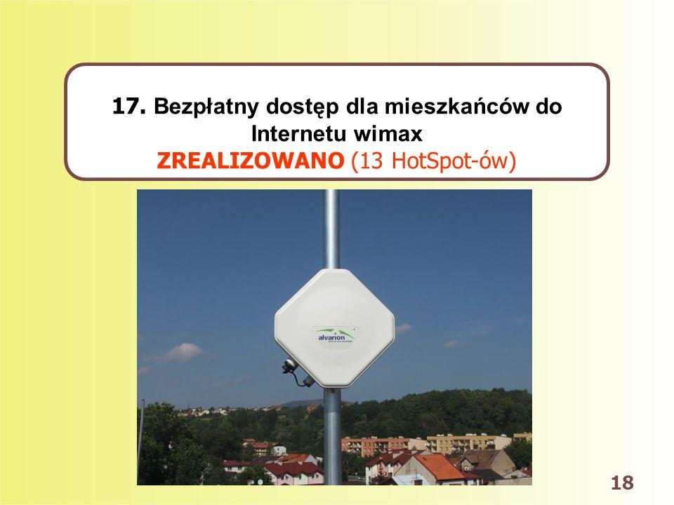 18 17. Bezpłatny dostęp dla mieszkańców do Internetu wimax ZREALIZOWANO (13 HotSpot-ów)