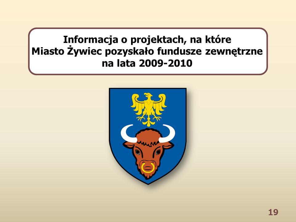 19 Informacja o projektach, na które Miasto Żywiec pozyskało fundusze zewnętrzne na lata 2009-2010