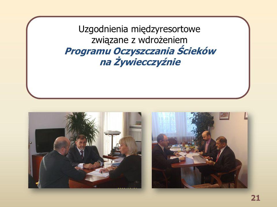 21 Uzgodnienia międzyresortowe związane z wdrożeniem Programu Oczyszczania Ścieków na Żywiecczyźnie