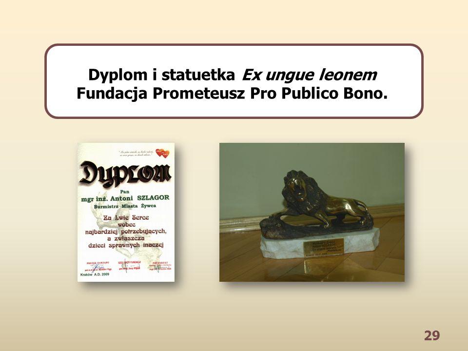 29 Dyplom i statuetka Ex ungue leonem Fundacja Prometeusz Pro Publico Bono.