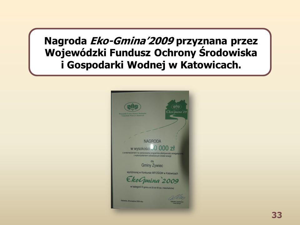 33 Nagroda Eko-Gmina2009 przyznana przez Wojewódzki Fundusz Ochrony Środowiska i Gospodarki Wodnej w Katowicach.