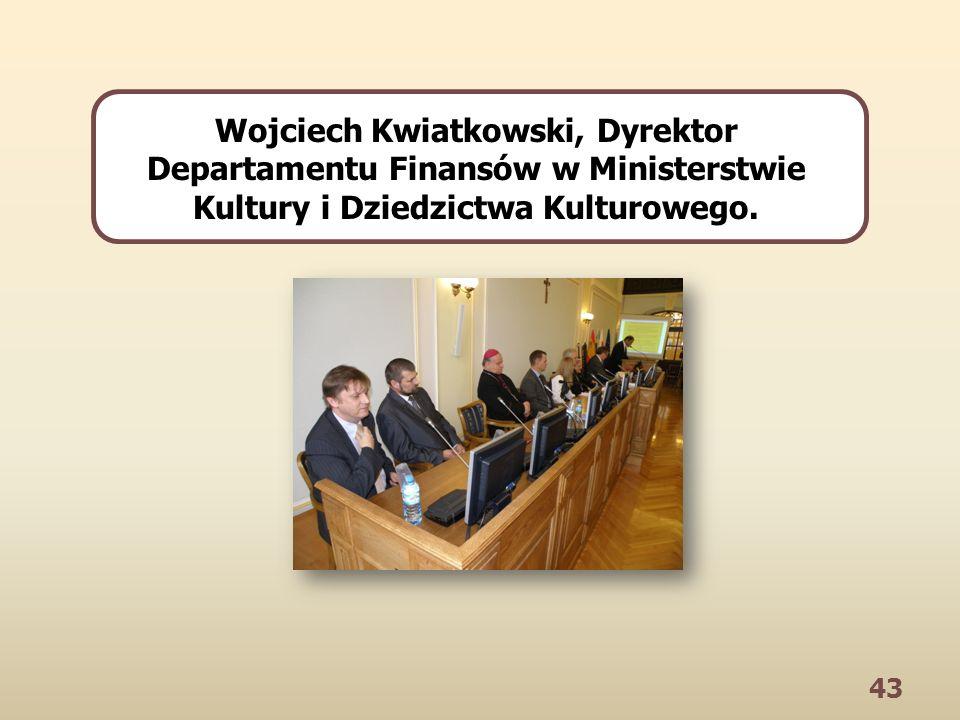 43 Wojciech Kwiatkowski, Dyrektor Departamentu Finansów w Ministerstwie Kultury i Dziedzictwa Kulturowego.