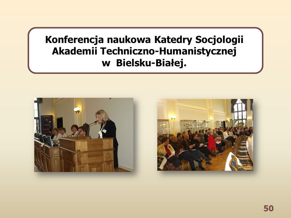 50 Konferencja naukowa Katedry Socjologii Akademii Techniczno-Humanistycznej w Bielsku-Białej.