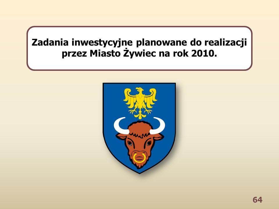 64 Zadania inwestycyjne planowane do realizacji przez Miasto Żywiec na rok 2010.