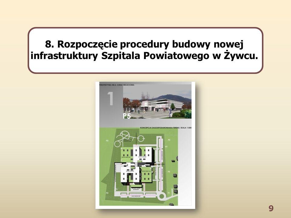 9 8. Rozpoczęcie procedury budowy nowej infrastruktury Szpitala Powiatowego w Żywcu.