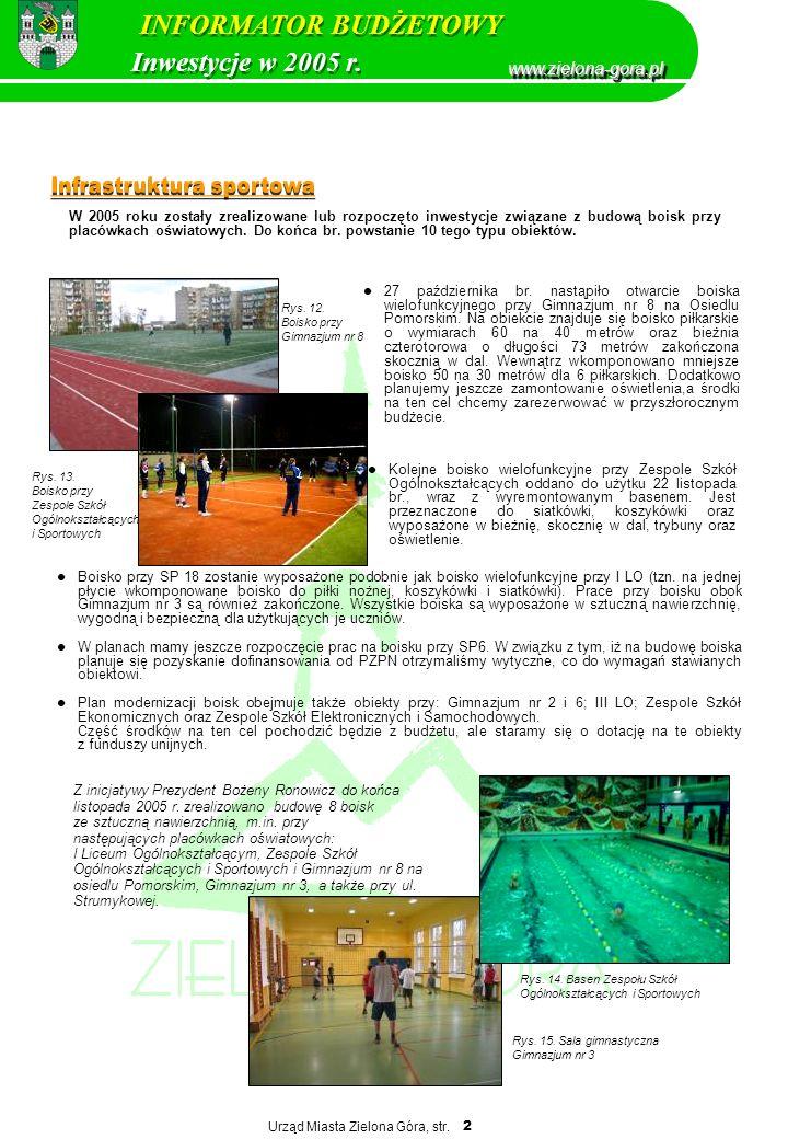 Urząd Miasta Zielona Góra, str. 2 W 2005 roku zostały zrealizowane lub rozpoczęto inwestycje związane z budową boisk przy placówkach oświatowych. Do k