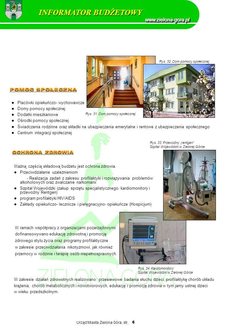 Urząd Miasta Zielona Góra, str. 6 Placówki opiekuńczo- wychowawcze Domy pomocy społecznej Dodatki mieszkaniowe Ośrodki pomocy społecznej Świadczenia r