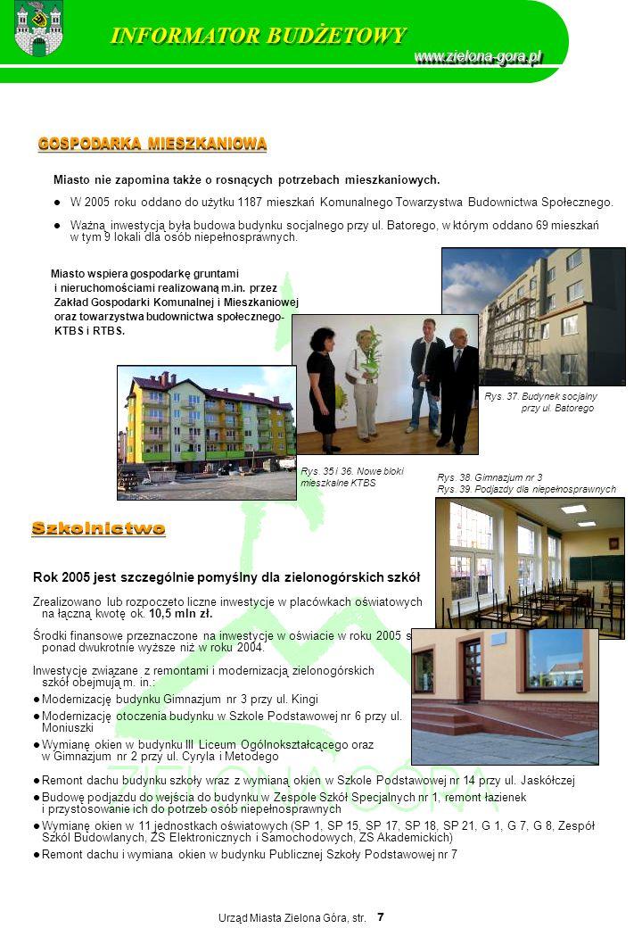 Urząd Miasta Zielona Góra, str. 7 Miasto nie zapomina także o rosnących potrzebach mieszkaniowych. W 2005 roku oddano do użytku 1187 mieszkań Komunaln