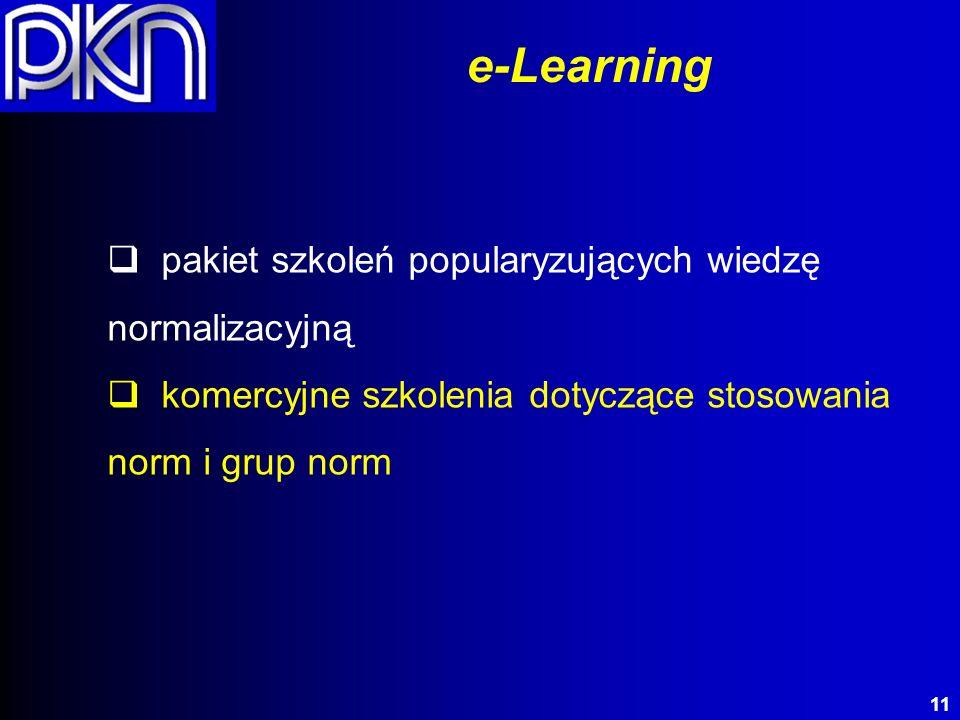 pakiet szkoleń popularyzujących wiedzę normalizacyjną komercyjne szkolenia dotyczące stosowania norm i grup norm e-Learning 11