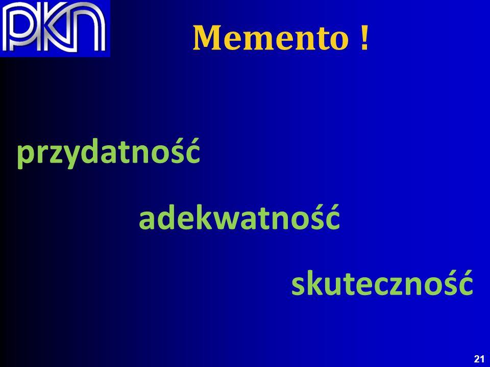przydatność adekwatność skuteczność 21 Memento !