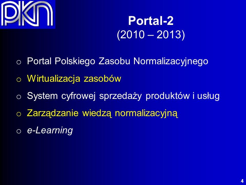 Portal korporacyjny: (zastępuje ZSI Norma i MKT) nowoczesny (Sun Oracle Database Machine) dynamiczny (225 000 IOPS) bezpieczny (OWASP 2010 Top 10) Portal Polskiego Zasobu Normalizacyjnego (PZN) 5