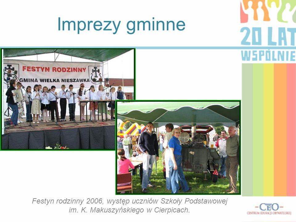 Imprezy gminne Festyn rodzinny 2006, występ uczniów Szkoły Podstawowej im. K. Makuszyńskiego w Cierpicach.